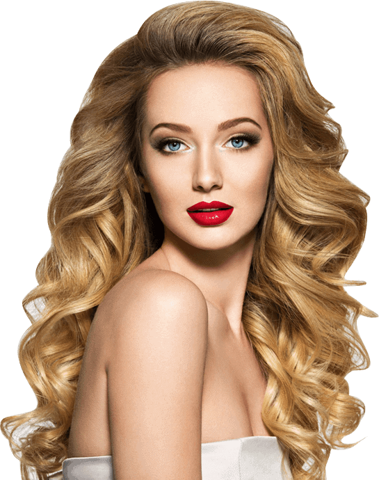A woman with blonde wavy hair.